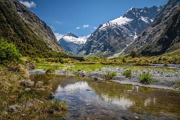 Bergketen aan de Milford Road, Nieuw-Zeeland van Christian Müringer