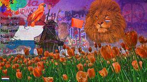 Street-art Oranje Leeuw EK Voetbal 2021-HUP HOLLAND HUP! van Rudy & Gisela Schlechter