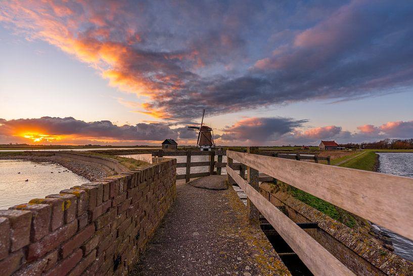 Moulinez le coucher de soleil de North Texel sur Texel360Fotografie Richard Heerschap