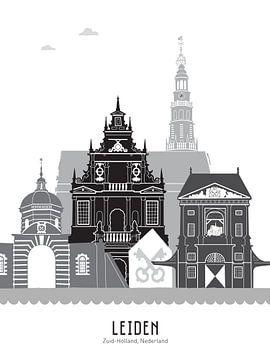 Skyline illustratie stad Leiden zwart-wit-grijs van Mevrouw Emmer