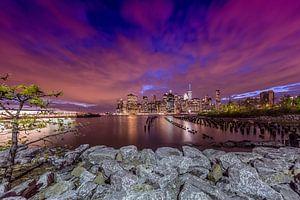 SKYLINE van MANHATTAN zonsondergang boven New York City