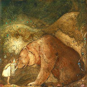 Prinzessin mit Bär im dunklen Wald