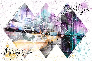 MODERN ART Coördinaten MANHATTAN & BROOKLYN van Melanie Viola