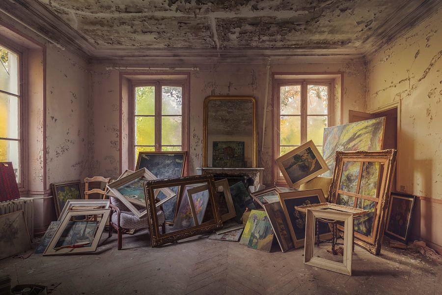 Het schildersatelier in het avondzonnetje van Truus Nijland