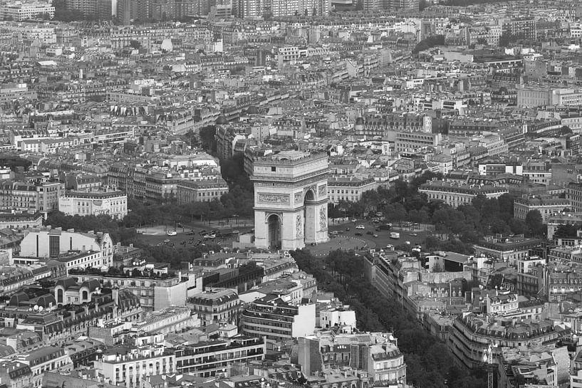 De Arc de Triomphe in Parijs vanaf de Eiffeltoren van MS Fotografie   Marc van der Stelt