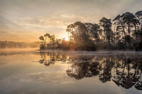 Zonsopgang op een meer met een schiereiland en stijgende mist