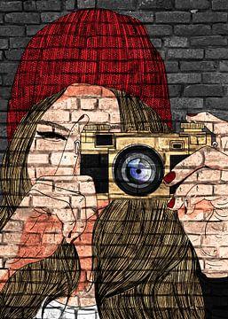 Fotografin Graffiti mit Mütze von KalliDesignShop