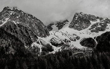 Schwarzweiss-Foto der Dolomiten. von Ineke Mighorst