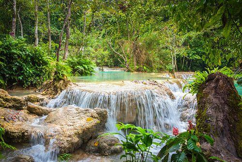 Waterval Kuang Si in het bos, Laos