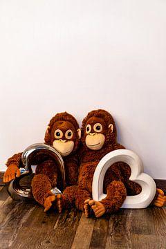 Deux singes en peluche sont assis bras dessus bras dessous et ont deux coeurs dans leurs mains sur Tom Voelz