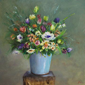 Olieverf schilderij Blauwe vaas met bloemen van Joke Klootwijk