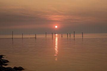 Palen in zee van Marian van der Kallen Fotografie