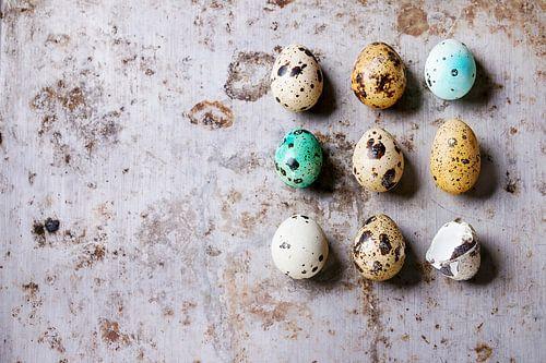 Decor whole and broken colorful Easter quail eggs standing in row rusty metaltexture background von Beeldig Beeld