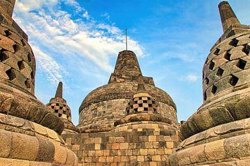 Hoofd Stupa Borobudur van Eduard Lamping
