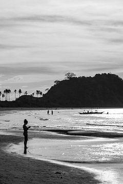 Strand in de Filippijnen, zwart-wit