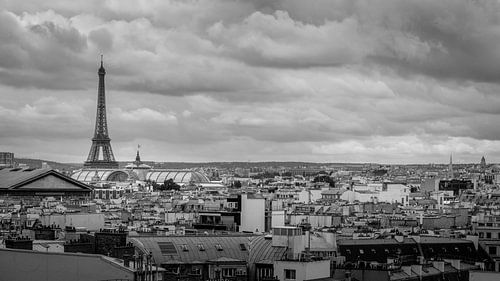 Clouds above the Eifel Tower | Paris | Panoramic overview | Black and White | Fine Art Photography