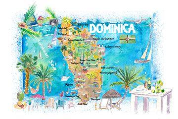 Dominica Antillen Illustrierte Reisekarte mit Straßen und Highlights von Markus Bleichner