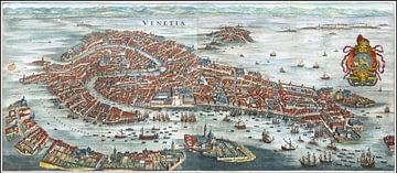 Matthäus Merian, Venetië in vogelvlucht, 1636 van Atelier Liesjes