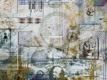 Collage in grau und braun von Rietje Bulthuis