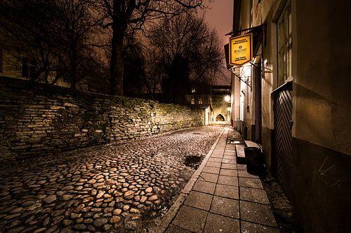 De oude stad van Talinn, Estland 's nachts van Remco Bosshard