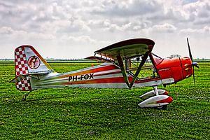Sportvliegtuig op grasveld in HDR van