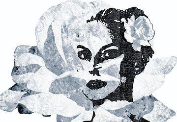 Een meisje met een roos in haar haar sur Nannie van der Wal