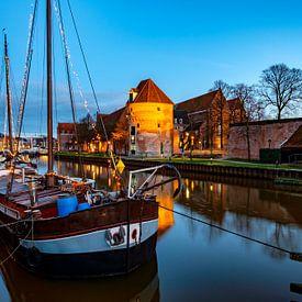 Coucher de soleil sur la Thorbeckegracht à Zwolle la veille de Noël sur Sjoerd van der Wal