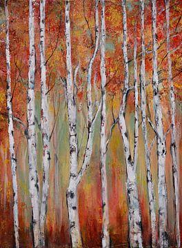 berken in de herfst..( berkaandemuur:) van Els Fonteine