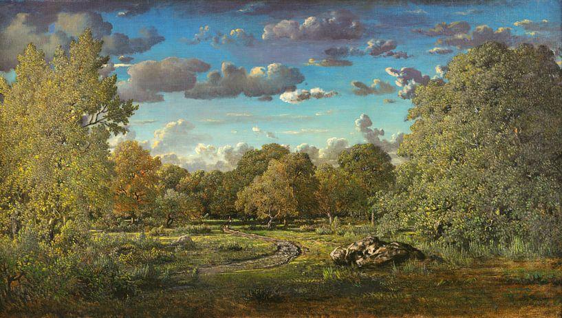 Eine Waldlichtung im Wald von Fontainebleau, Théodore Rousseau von Meesterlijcke Meesters