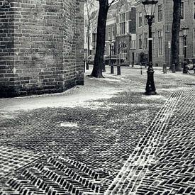 Het Pieterskerkhof in Utrecht in de winter.  (Utrecht2019@40mm nr 33) van De Utrechtse Grachten