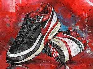 Nike Air Classic BW Varsity Red schilderij 02 van Jos Hoppenbrouwers