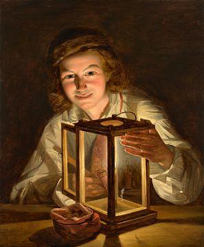 Ferdinand Georg Waldmueller, Selbstbildnis mit Laterne - 1825 von Atelier Liesjes