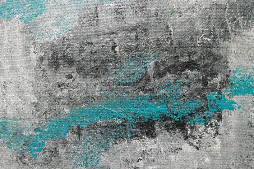 abstrait en noir et blanc et bleu turquoise sur jolanda verduin