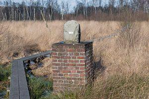 Grenspaal in natuurreservaat het Wooldse veen in Winterswijk