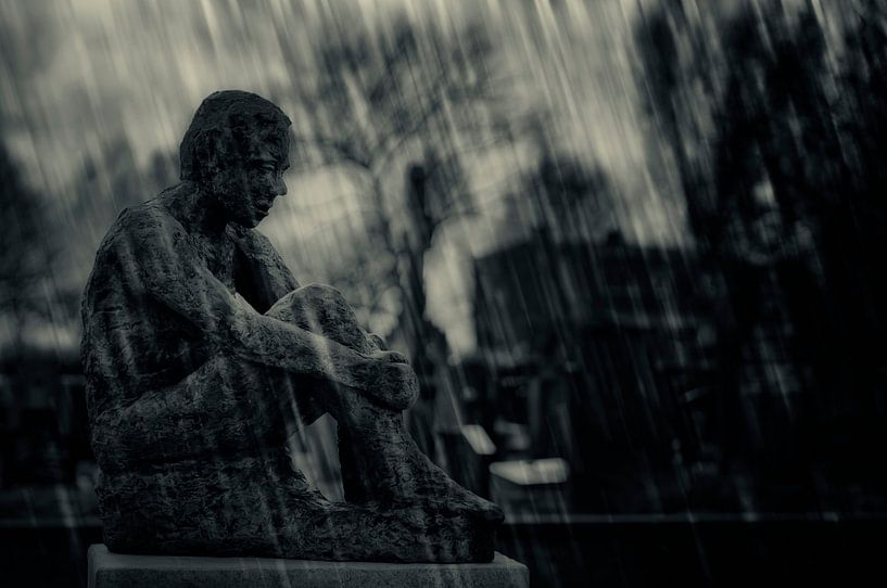 Overpeinzing in de regen.. van Ellen Driesse