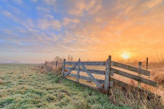 Hollandse Landschap/Zonsopkomst van Lisa Kompier