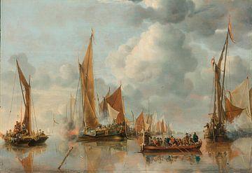 La flotte nationale saluant la péniche de l'État, Jan van de Cappelle sur