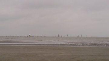 Zeilboten aan de horizon.  Belgische kust. van