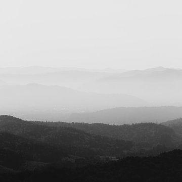 Schwarz-weiße neblige Horizontlinien von Patrik Lovrin