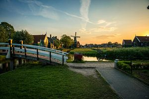 Sunset old Dutch Windmil