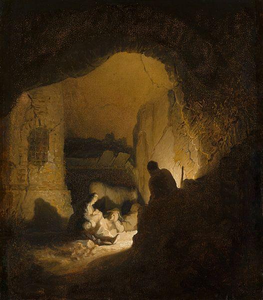 Rustende reizigers (Rust tijdens de vlucht naar Egypte?), Rembrandt van Rijn van Rembrandt van Rijn