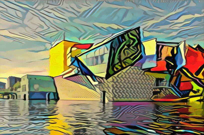 Modern kunstwerk van Groninger Museum in de stijl van Picasso van Slimme Kunst.nl