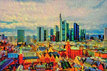 Kleurrijk kunstwerk Skyline van Frankfurt am Main