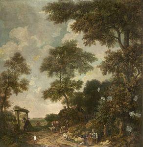 Behangselschildering van een Hollands landschap met een zandweg, Jurriaan Andriessen