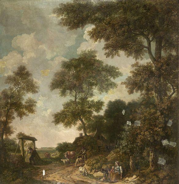 Behangselschildering van een Hollands landschap met een zandweg, Jurriaan Andriessen van Meesterlijcke Meesters