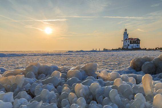 Het paard van Marken in de winter.  van Menno Schaefer