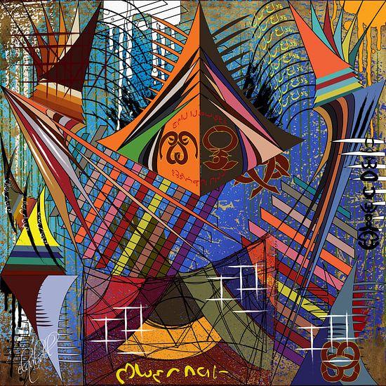Kleurrijk en modern werk van geometrische vormen