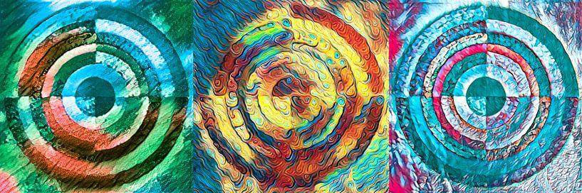 Drieluik van gelaagde cirkels van Rietje Bulthuis