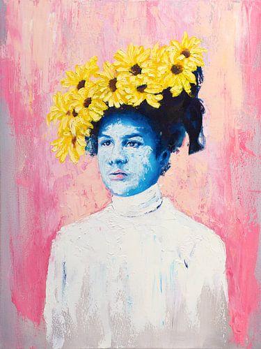 Blauwe dame met zonnebloemen hoed