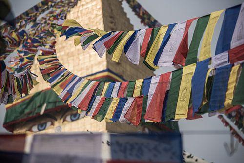 Gebedsvlaggen bij Bouddhanath stoepa in Kathmandu | Nepal